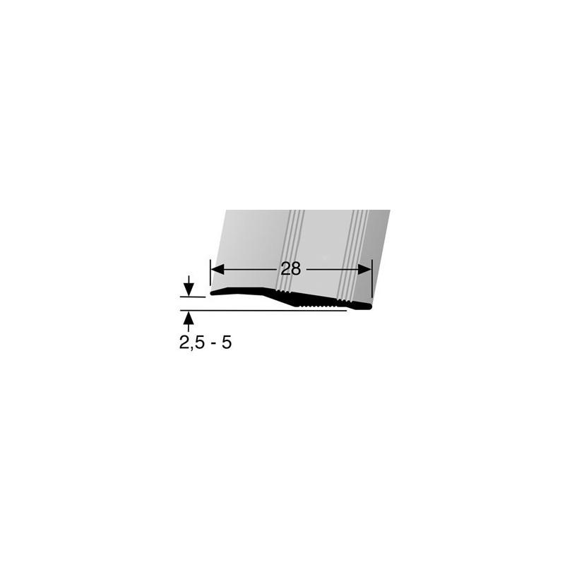 Overgangsprofiel ongeboord 2,5 x 28 mm in diverse kleuren