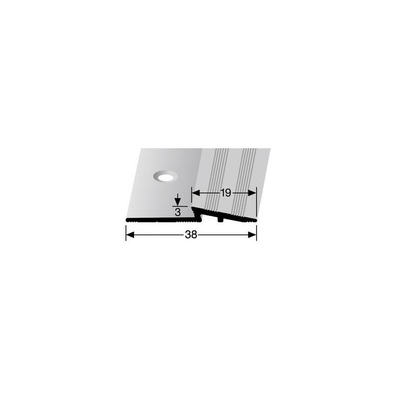 Overgangsprofiel voorgeboord 3 x 19 mm kleur zilver