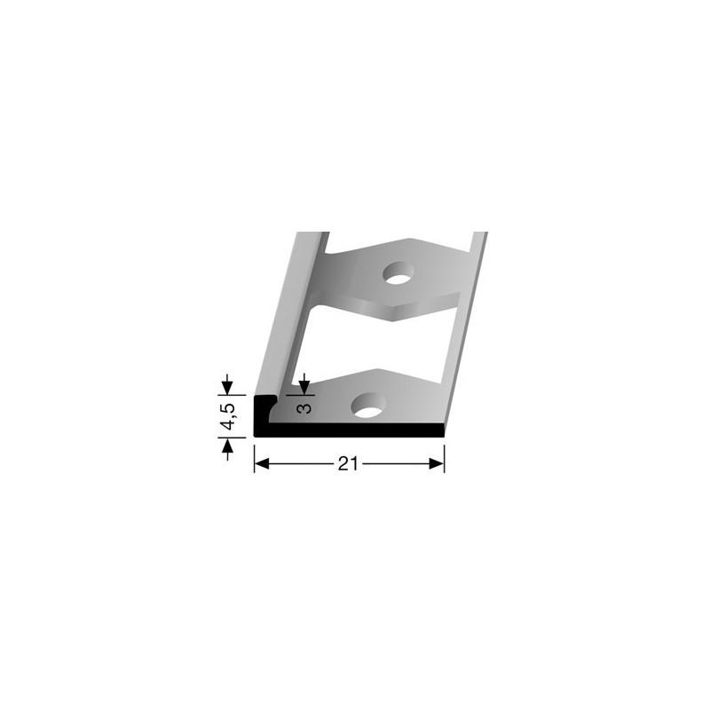 Afwerkprofiel pvc vloeren 3 x 4.5 mm aluminium