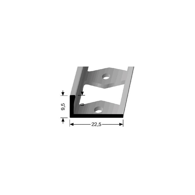 Afwerkprofiel pvc vloeren 8 x 9.5 mm aluminium
