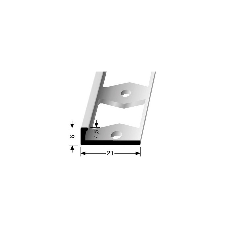 Afwerkprofiel pvc vloeren 6 x 4,5 mm aluminium