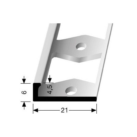 Afwerkprofiel pvc vloeren 6 x 4,5 mm kleur Zilver