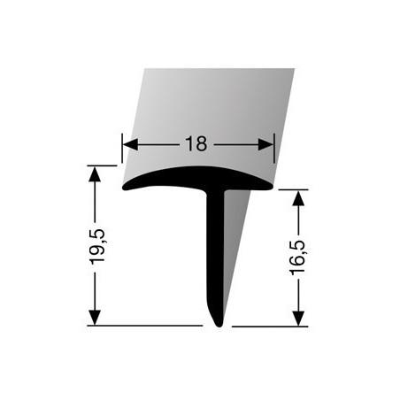 Luikprofiel kleur zilver 19,5 mm