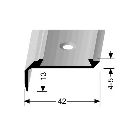 Trapprofiel voorgeboord 42 x 13 mm Aluminium