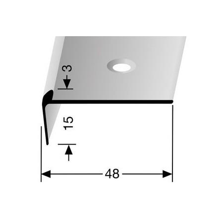 Trapprofiel voorgeboord pvc 15 x 48 mm kleur zilver