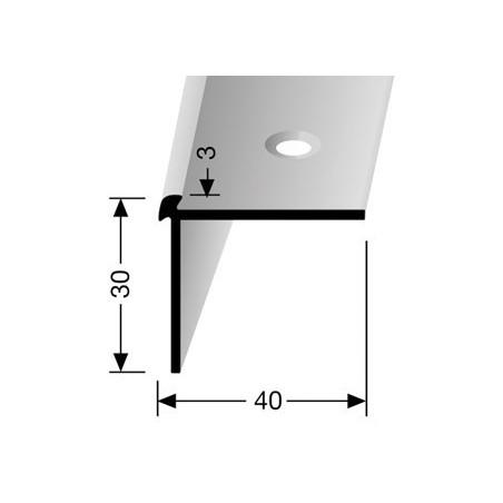 Trapprofiel voorgeboord pvc 30 x 40 mm kleur zilver